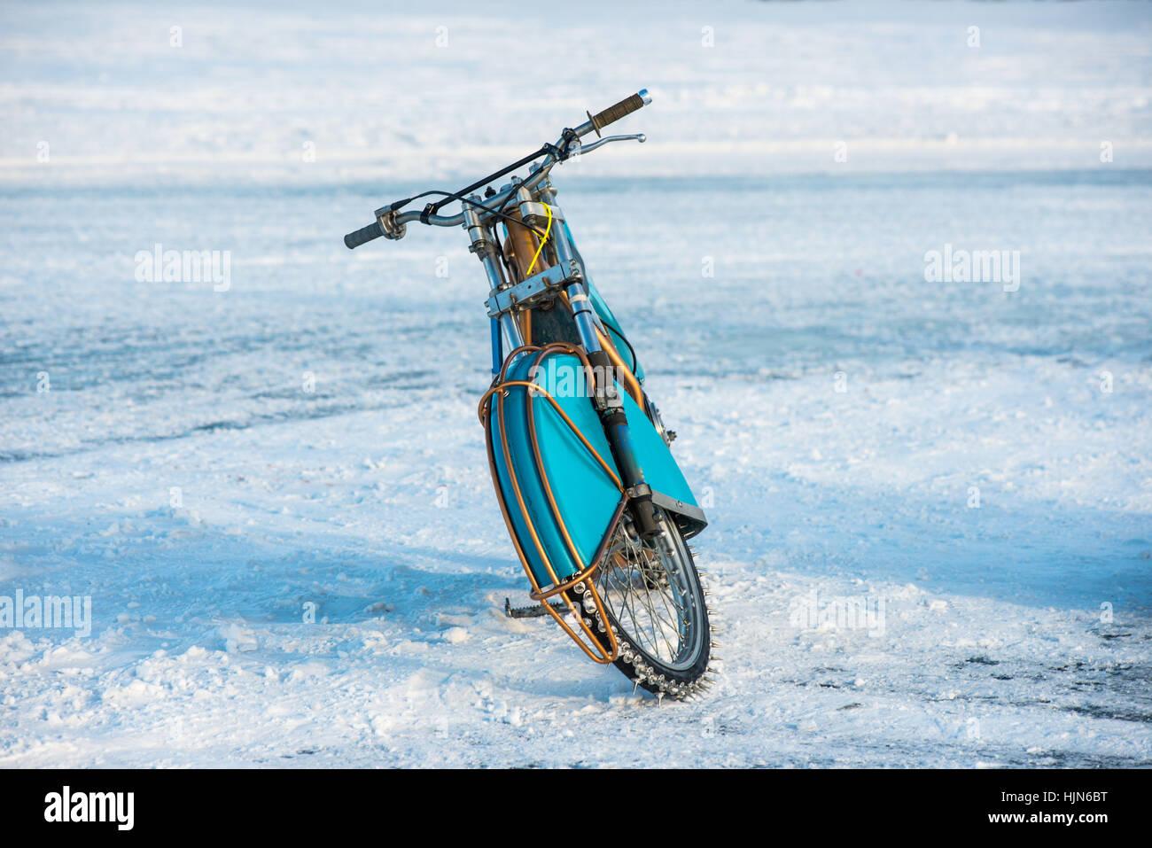 Motociclo per l'inverno Speedway Immagini Stock