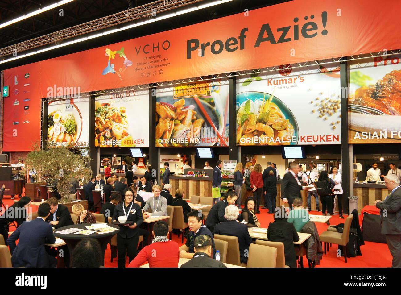 L'Asia reparto alimentare su Amsterdam Horecava annuale ospitalità fiera. Immagini Stock