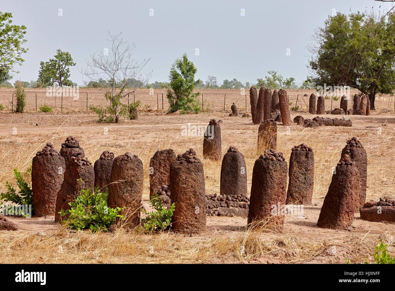 Wassu circoli di pietra, sito Patrimonio Mondiale dell'UNESCO, il Gambia, Africa Immagini Stock