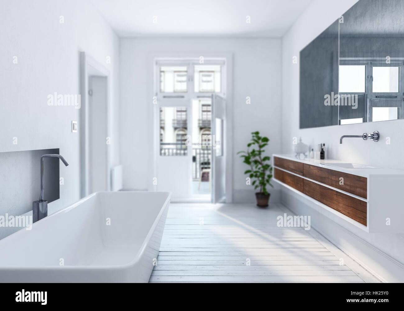 Moderno ed elegante urbano bianco bagno interno con ...
