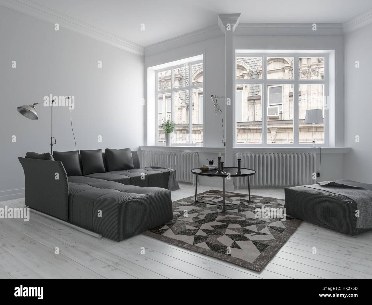 Luminoso soggiorno in design minimalista con pareti bianche e ...