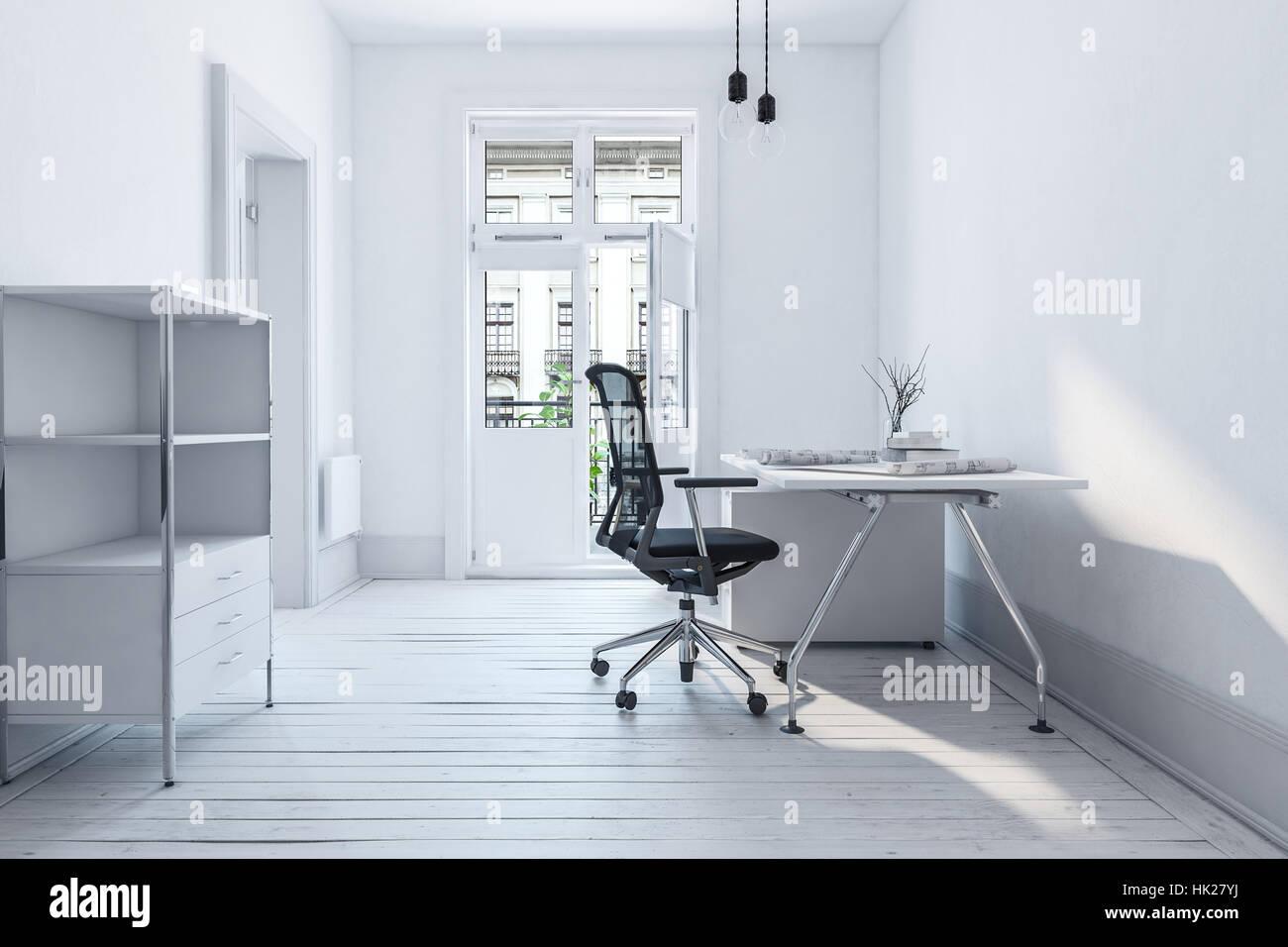 Scrivania e sedia per ufficio in una spaziosa camera con parquet