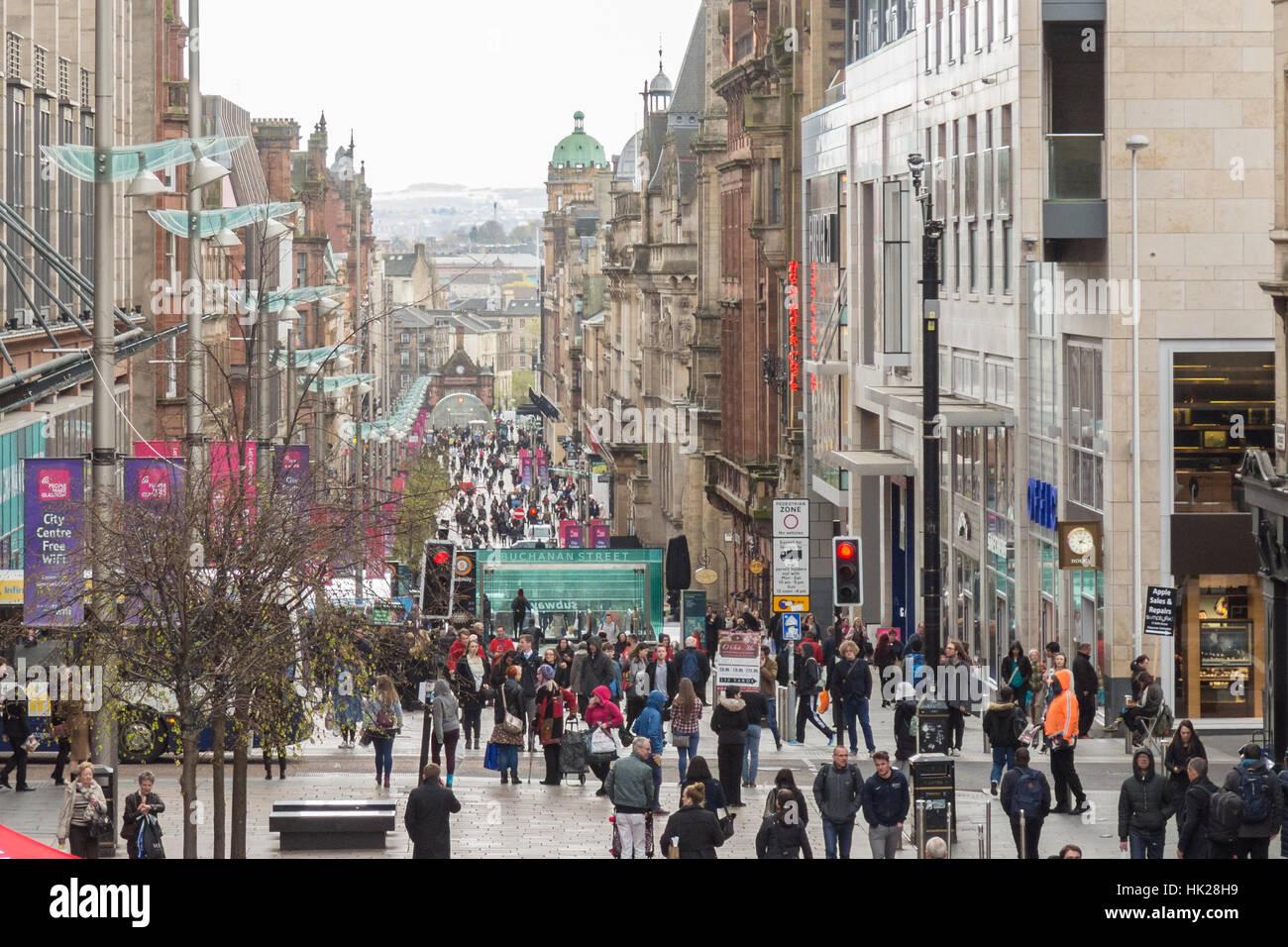 Buchanan Street, Glasgow, Scotland, Regno Unito Immagini Stock