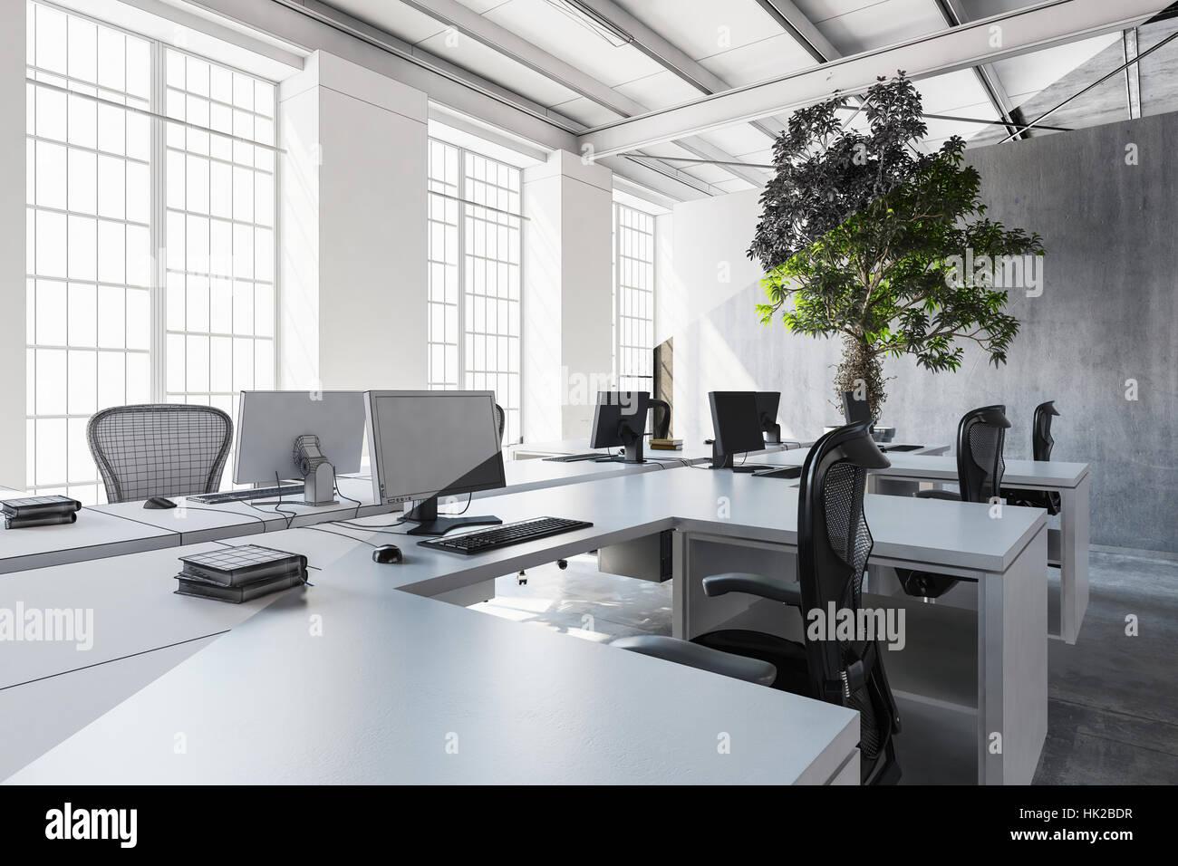Ufficio Bianco E Grigio : Ben illuminata ufficio in bianco e i toni di grigio con diversi