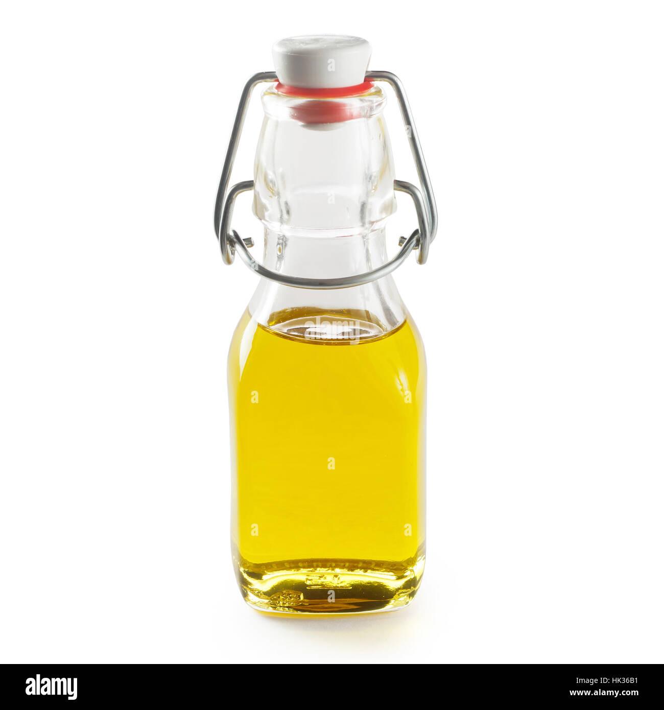 Olio in bottiglia piccola isolati su sfondo bianco Immagini Stock
