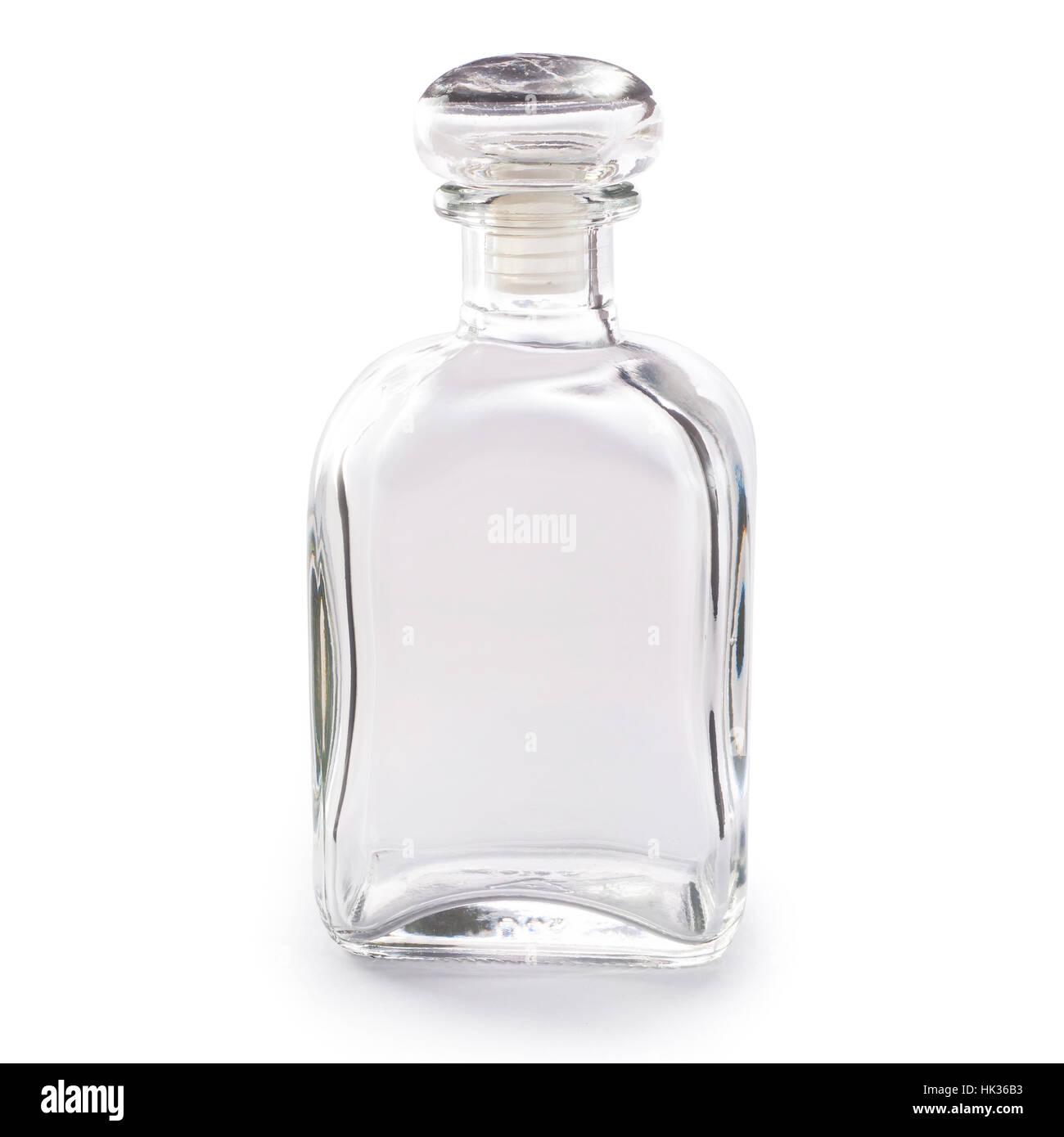 Svuotare la bottiglia di vetro isolato su sfondo bianco Immagini Stock