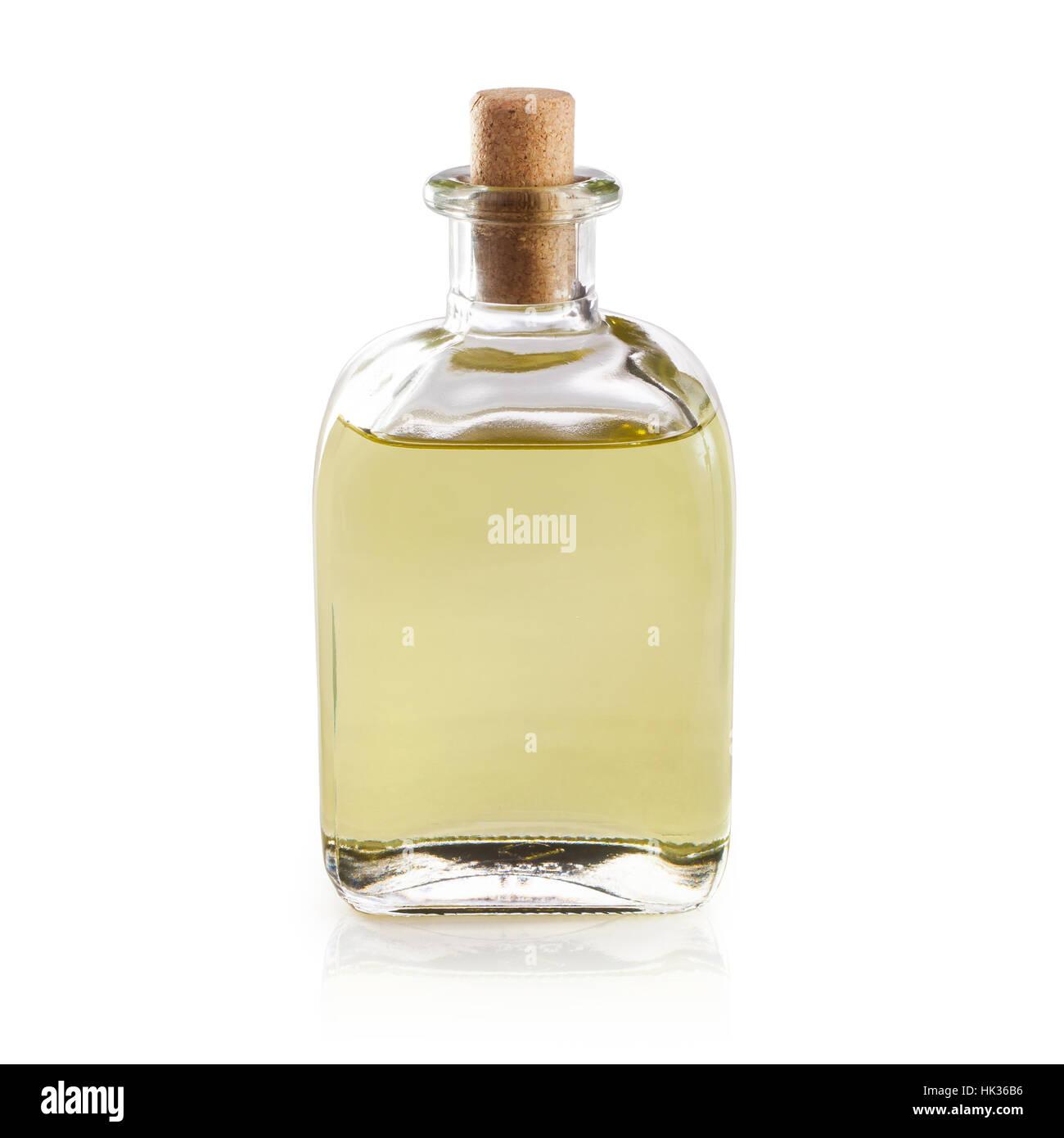Il liquido in bottiglia isolato su sfondo bianco Immagini Stock
