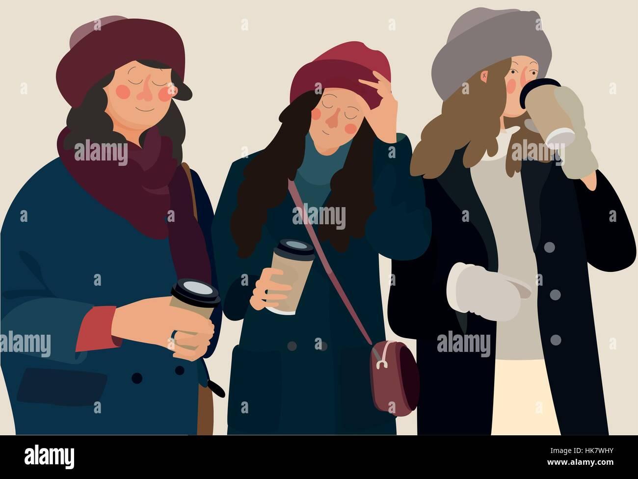 Tre giovani ragazze in vestiti caldi di bere il caffè all aperto in  inverno. mano disegnare stile illustrazione vettoriale b0ec178fc7b