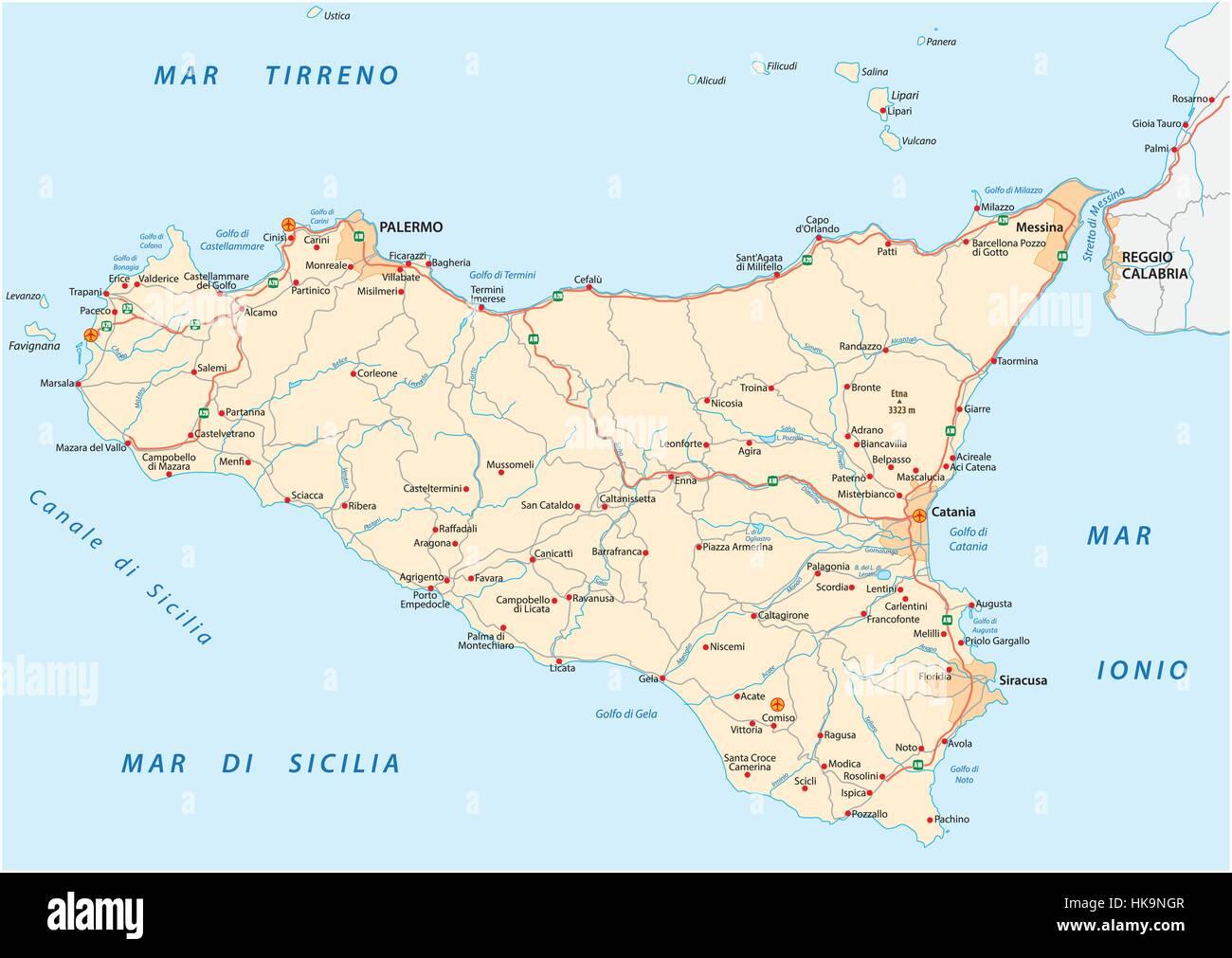 Cartina Dettagliata Sicilia Orientale.Mappa Di Palermo Immagini E Fotos Stock Alamy