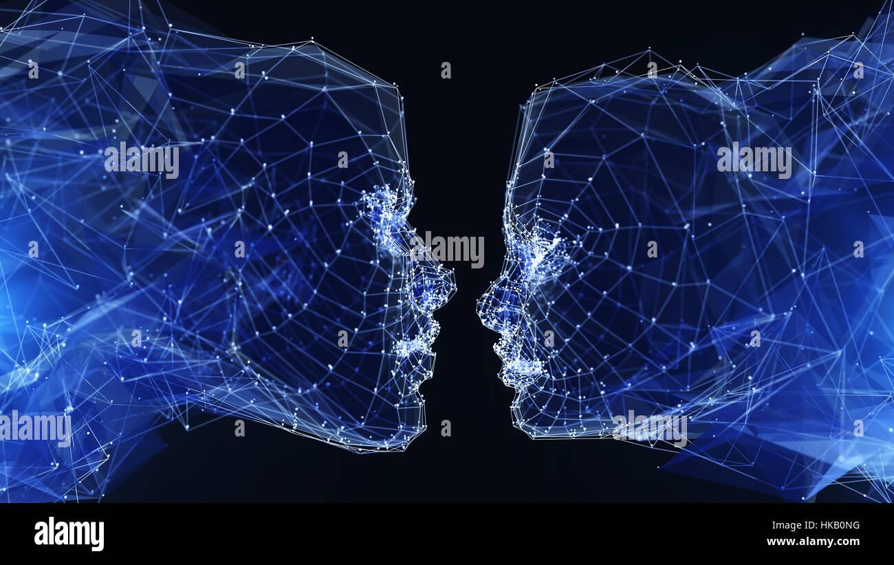 Illustrazione Di Digital communication technology.3D illustrazione Foto Stock
