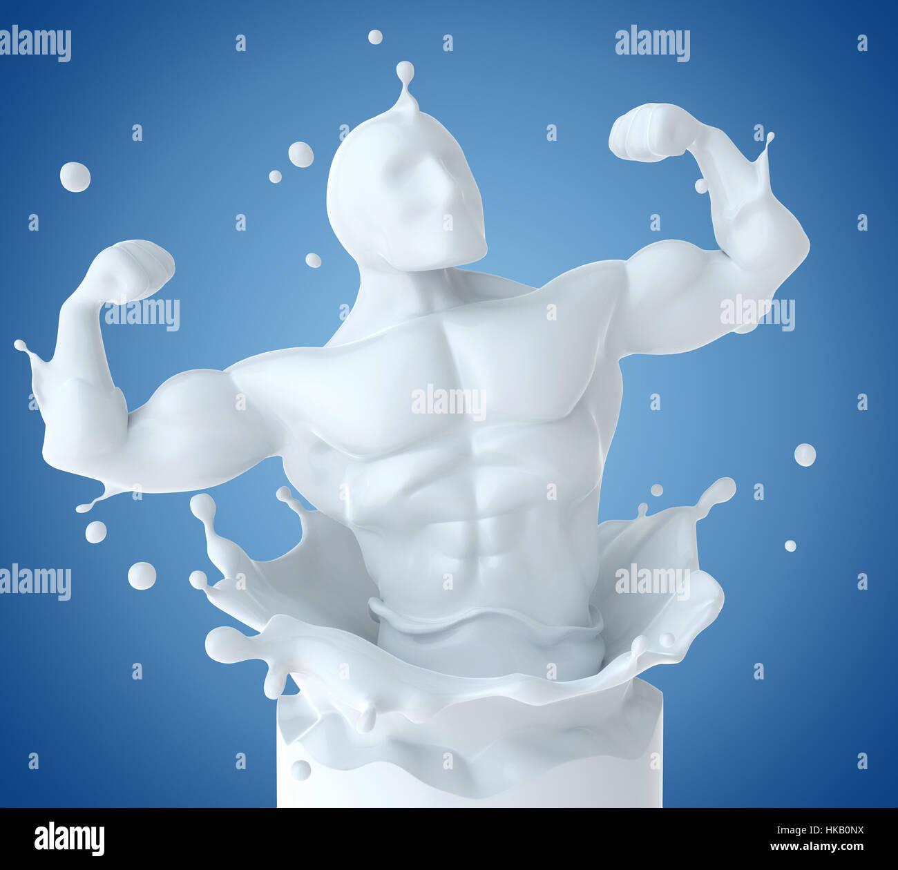 Schizzi di latte in forma di corpo atleta. 3D illustrazione Immagini Stock