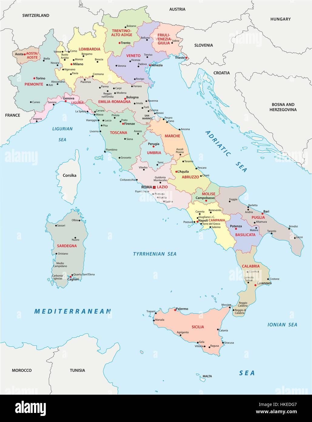 Italia Cartina Vettoriale.Italia Politica E Amministrativa Di Mappa Immagine E Vettoriale Alamy