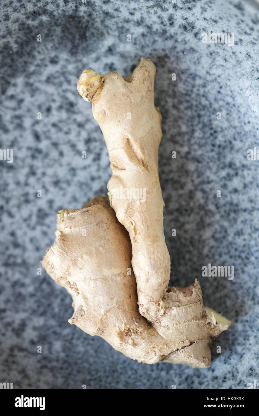 Materie di zenzero organica, spice, ingrediente alimentare. Immagini Stock