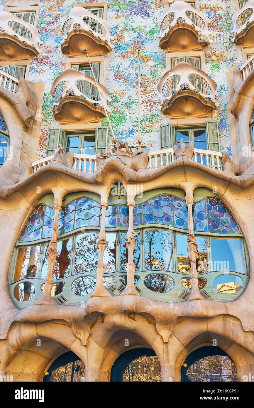 Casa Batllo house design di Antonio Gaudi, Barcellona, in Catalogna, Spagna Immagini Stock