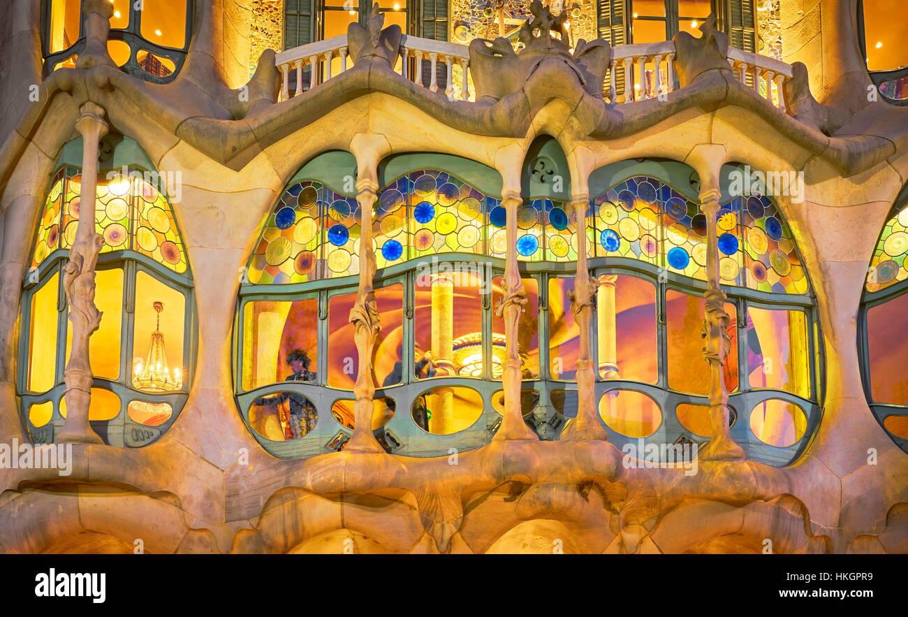 Casa Batllo house design di Antonio Gaudi, Barcellona, Spagna Immagini Stock