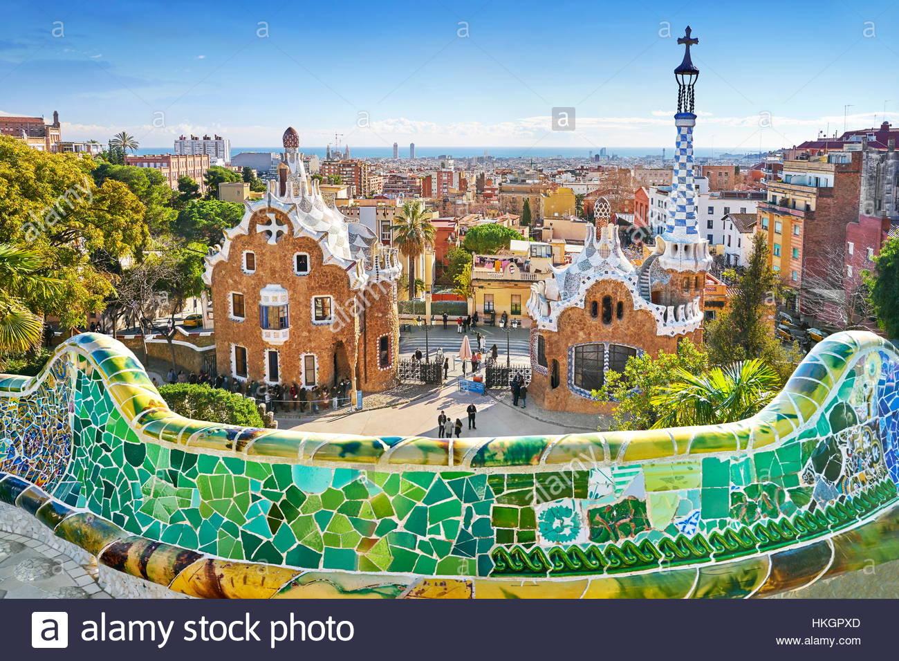 Barcellona - Parco Guell di Antoni Gaudi, Catalogna, Spagna Immagini Stock