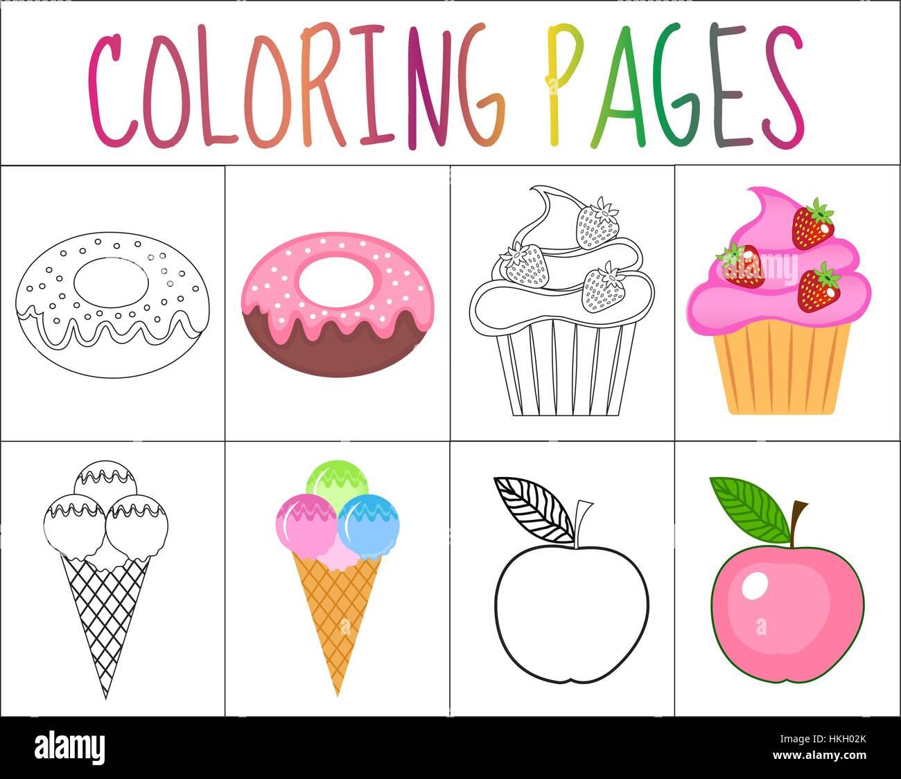 Libro Da Colorare La Pagina Set Caramelle Collezione Schizzo E