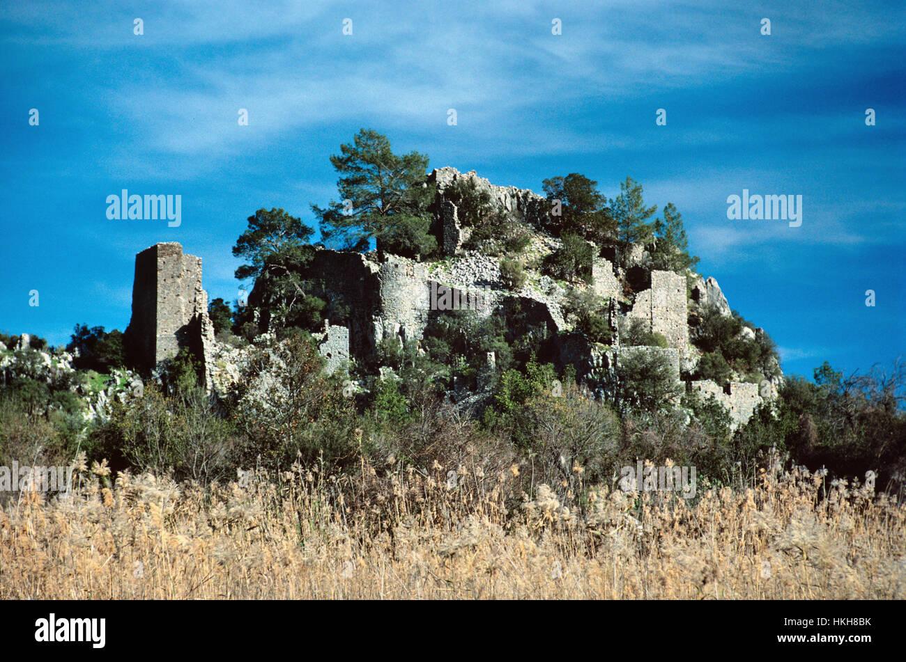 Antica Cittadella della classica Lycian città di Olympos, nella provincia di Antalya, Turchia Foto Stock