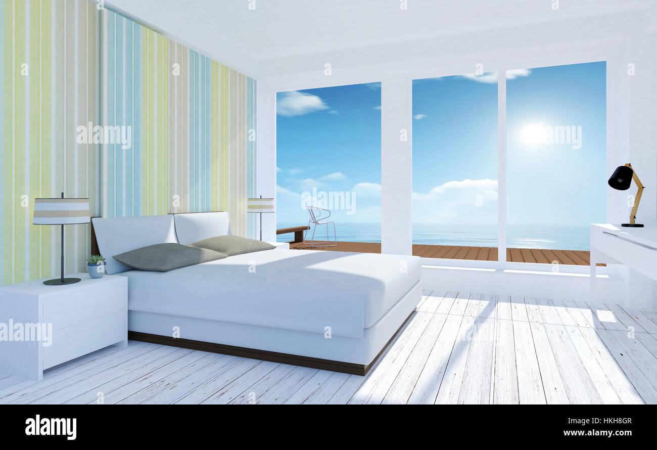 Bianco e accogliente camera da letto minimo interno con vista mare ...