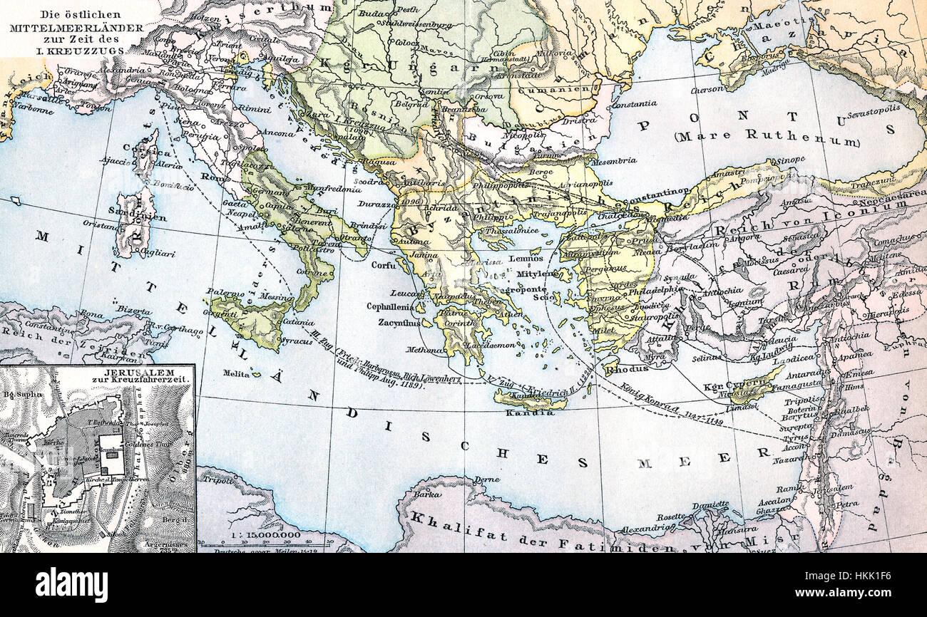 Cartina Geografica Mediterraneo Orientale.Mappa Storica Dei Paesi Del Mediterraneo Orientale Durante Il Primo Periodo Di Crociata Foto Stock Alamy