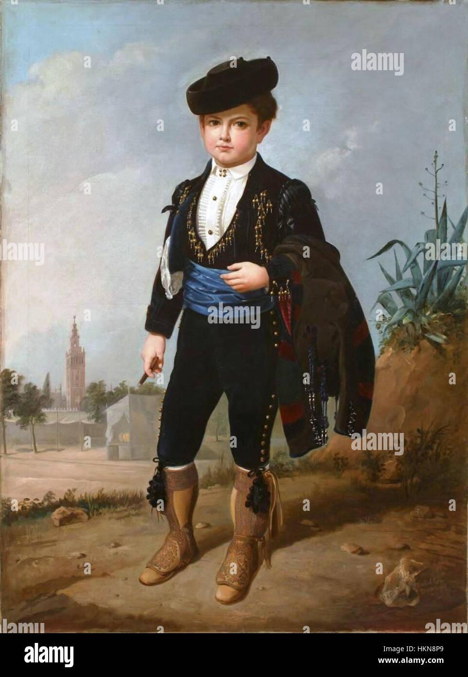 Alfonsito Cabral con puro (Museo del Romanticismo de Madrid) Immagini Stock