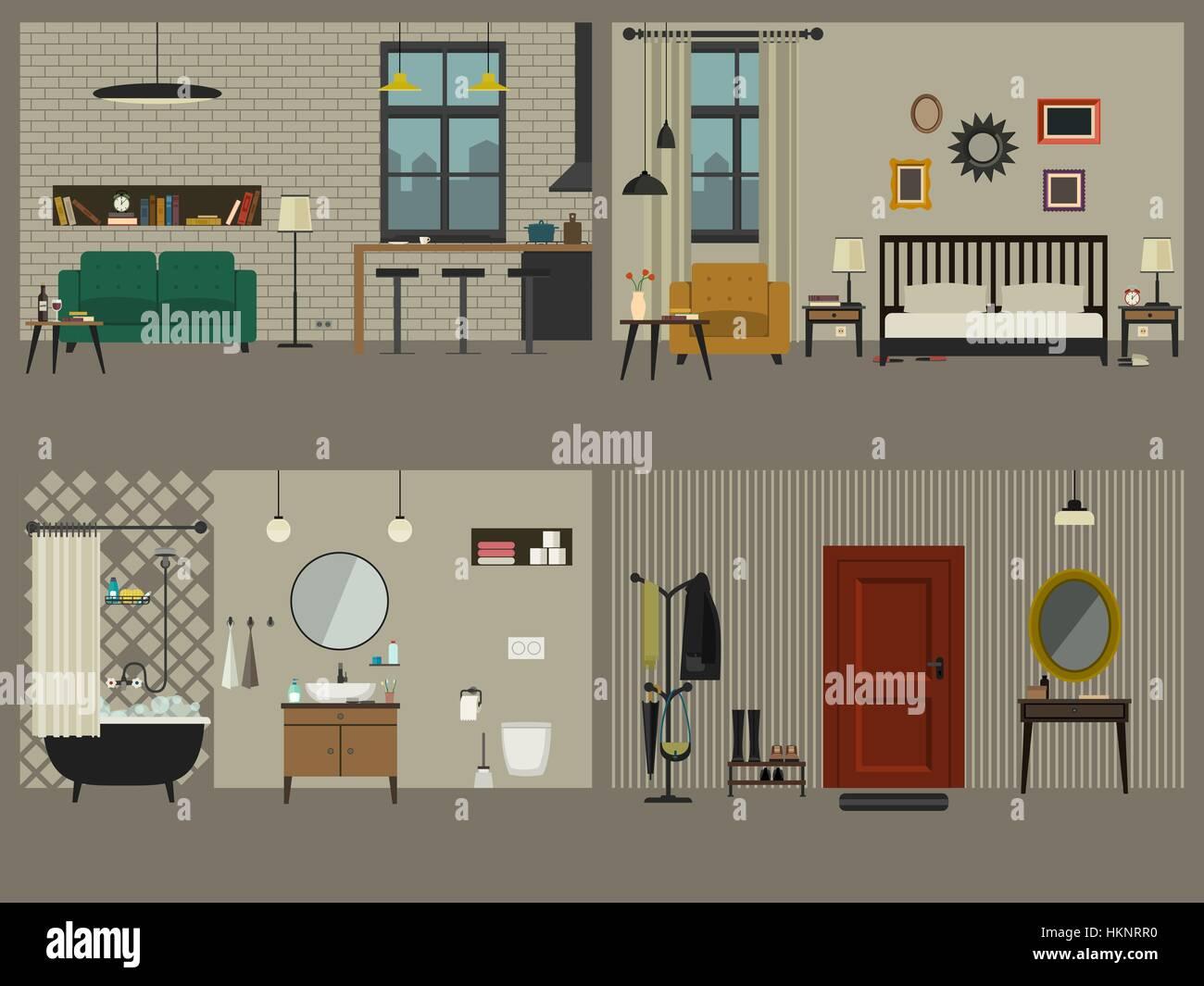 Serie di interni di appartamenti con arredi icone for Interni appartamenti