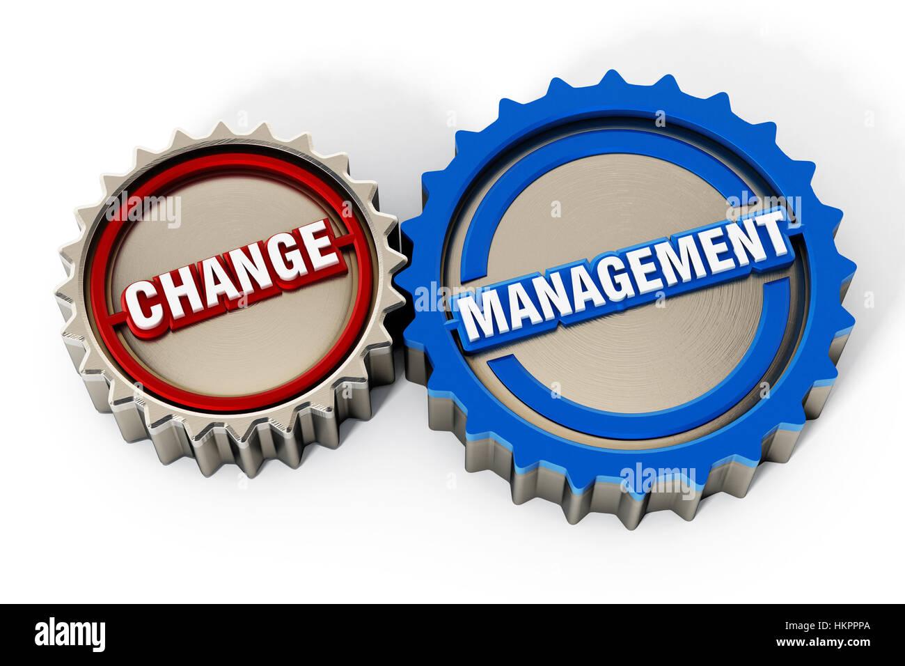 La gestione delle modifiche ingranaggi isolati su sfondo bianco. 3D'illustrazione. Immagini Stock