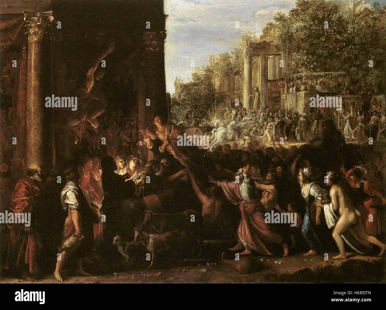 Elsheimer Adam - Il contento - WGA7492 Immagini Stock