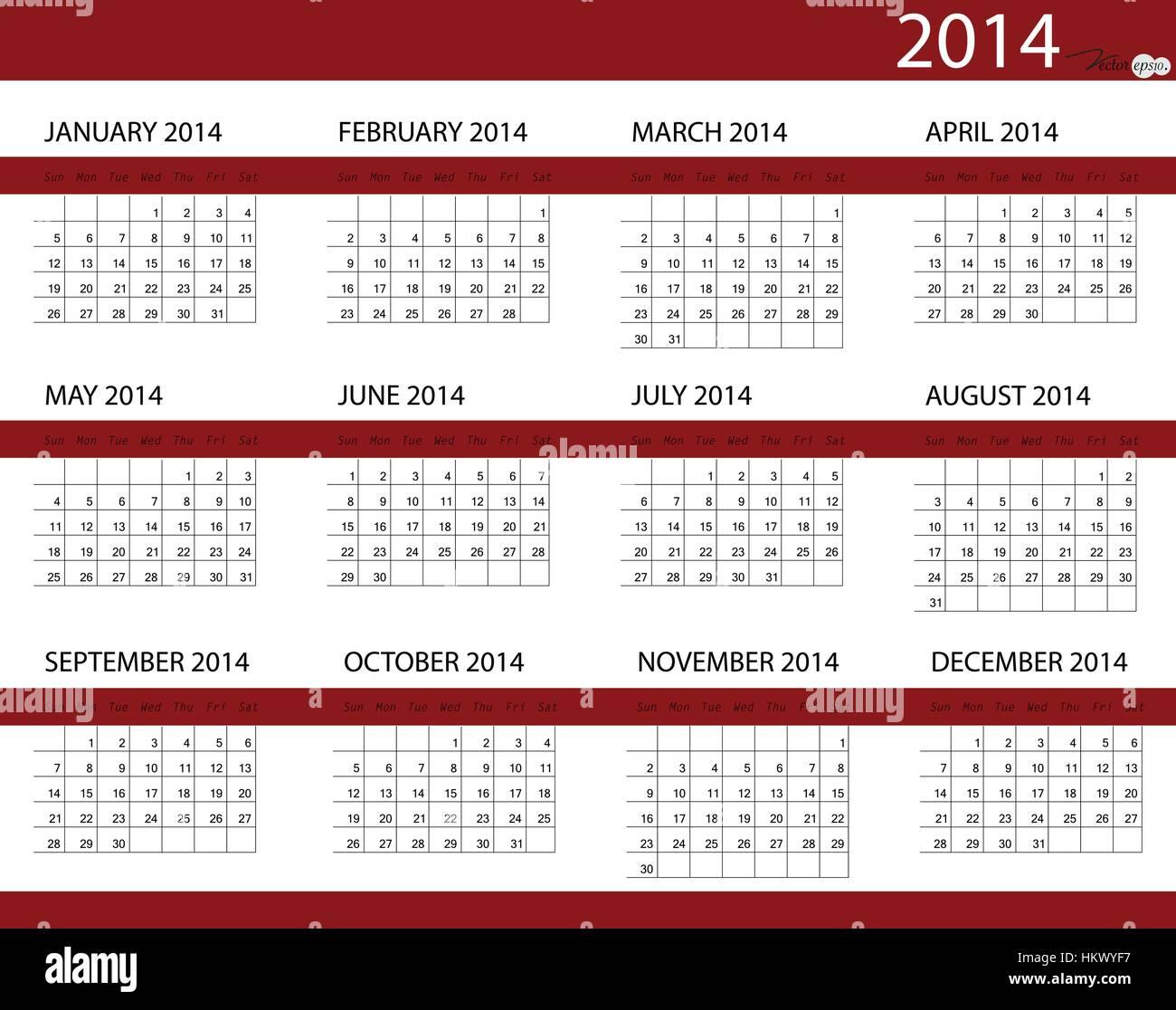 Calendario Anno 2014.Semplice 2014 Anno Calendario Illustrazione Vettoriale