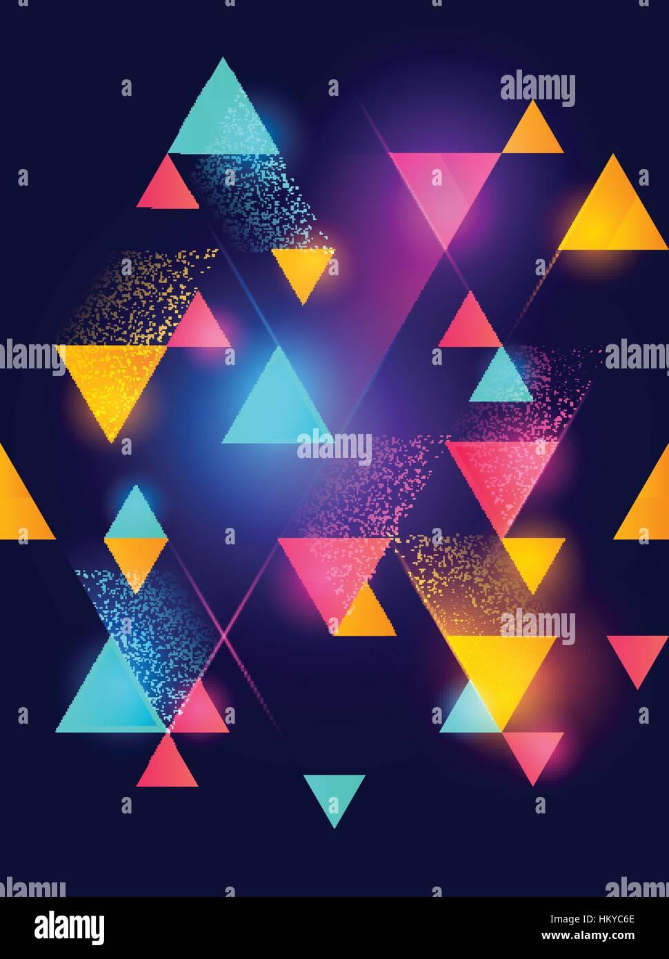 Neon incandescente modello geometrico dello sfondo. Illustrazione Vettoriale. Immagini Stock