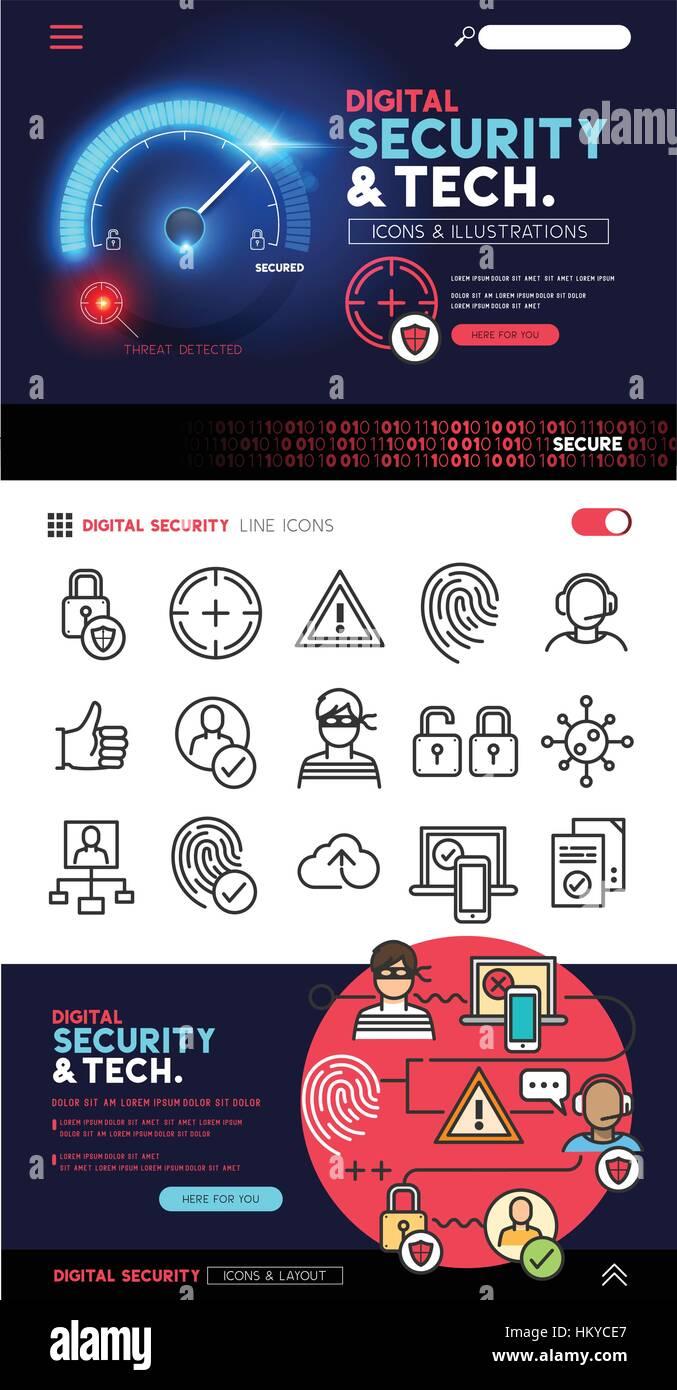 La protezione digitale e disegni di tecnologia con un piatto di set di icone e di privacy e sicurezza informatica Immagini Stock