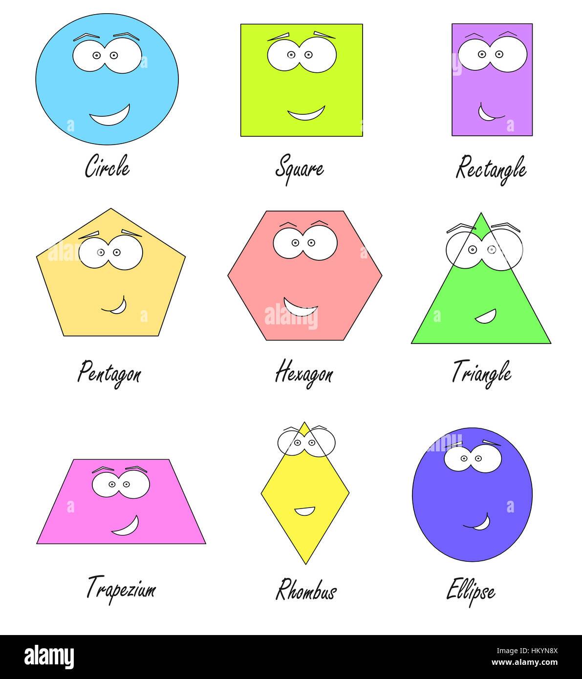 Forme geometriche con facce buffe - istruzione scolastica per i bambini Immagini Stock
