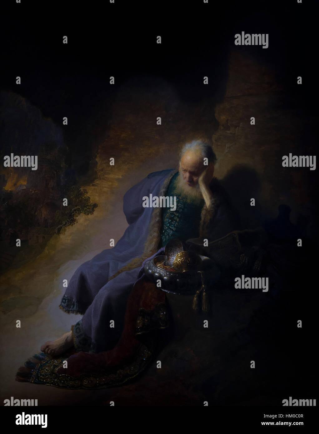 Geremia piange la distruzione di Gerusalemme, da Rembrandt, 1630, olio su pannello, rijksmuseum amsterdam, Paesi Immagini Stock