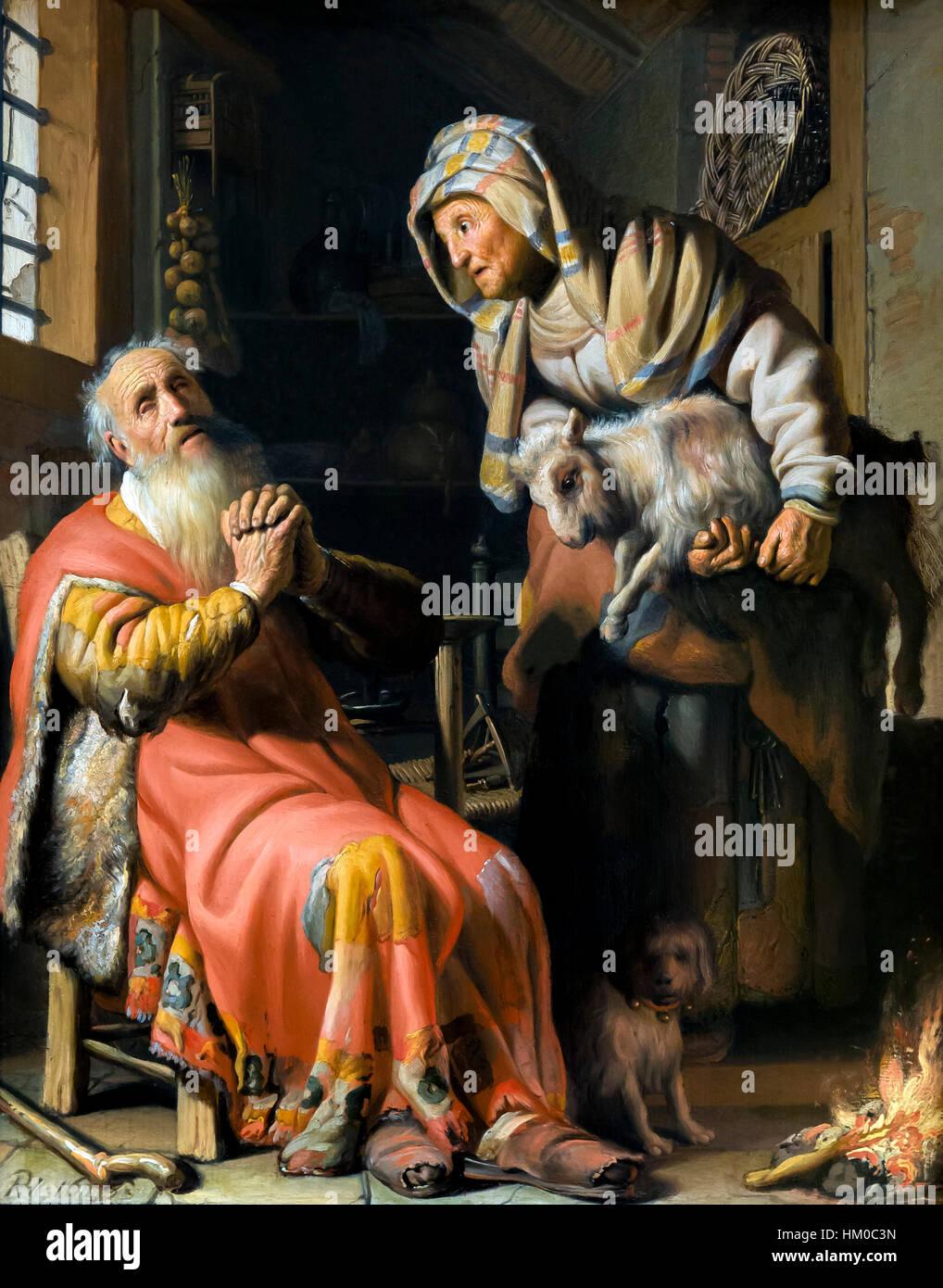 Tobia e Anna con il bambino, da Rembrandt, 1626, olio su pannello, rijksmuseum amsterdam, Paesi Bassi, Europa Immagini Stock