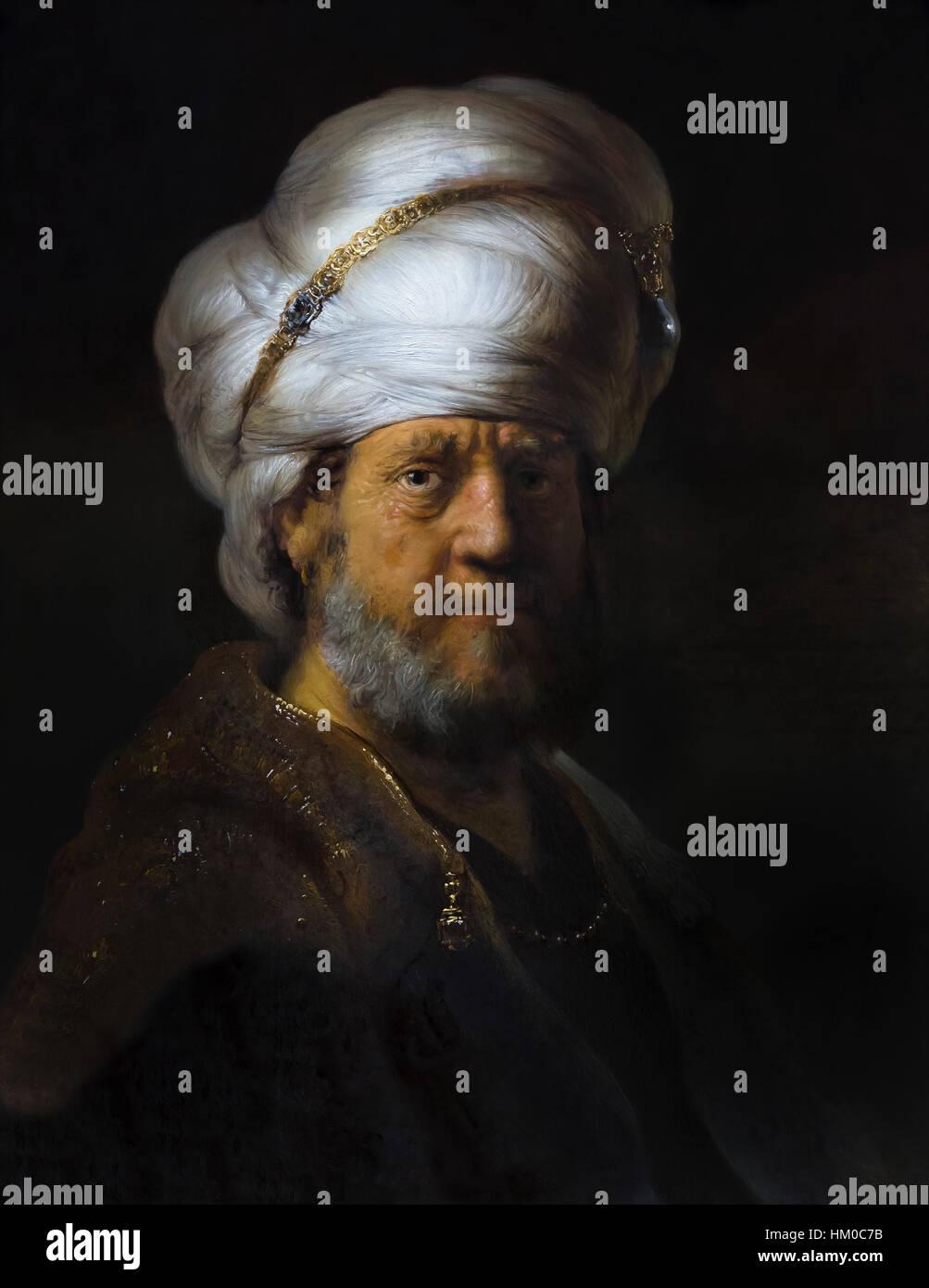 Uomo in abiti orientali, da Rembrandt,1635, olio su pannello, rijksmuseum amsterdam, Paesi Bassi, Europa Immagini Stock
