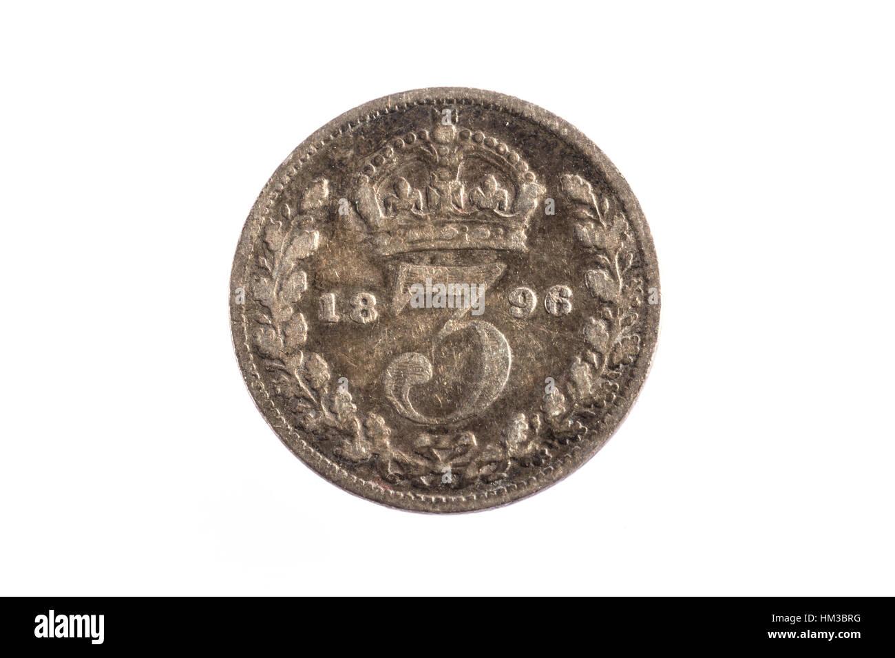 Un 1898 Tre Penny moneta imperiale Immagini Stock