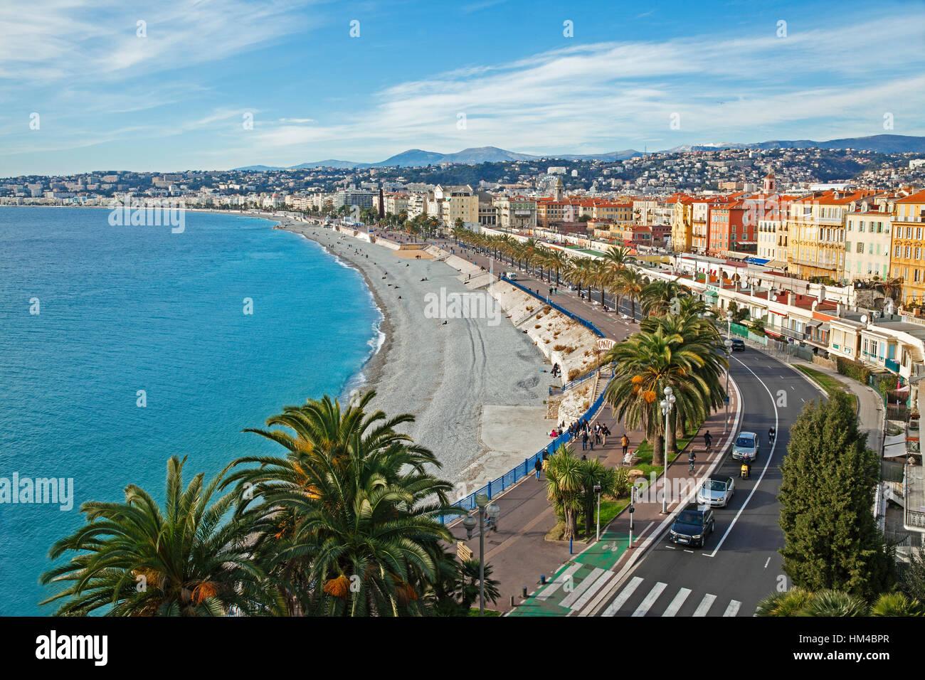 Promenade des Anglais, Nizza Cote d'Azur, in Francia Immagini Stock