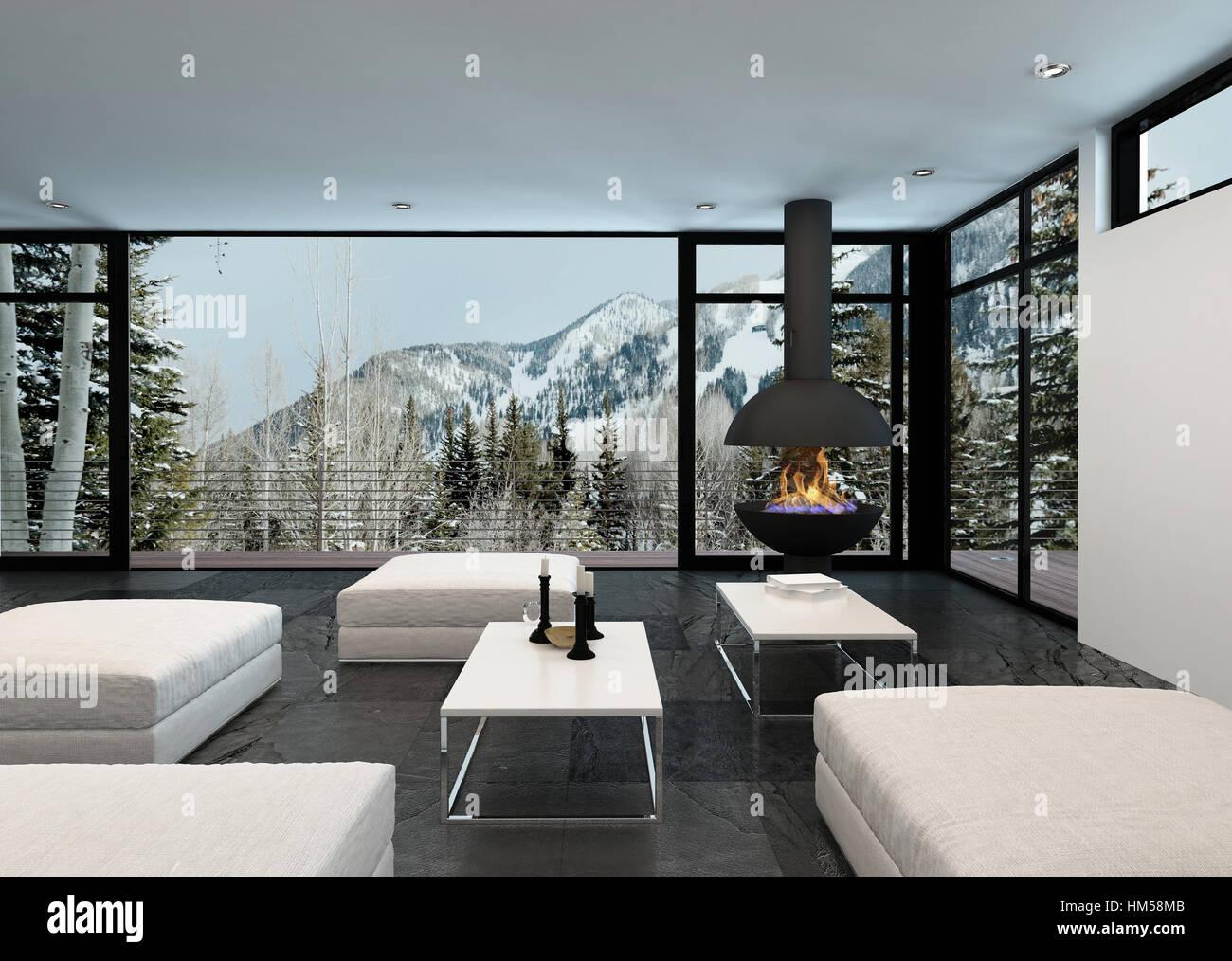 Accogliente ed elegante soggiorno interno in una casa di montagna ...