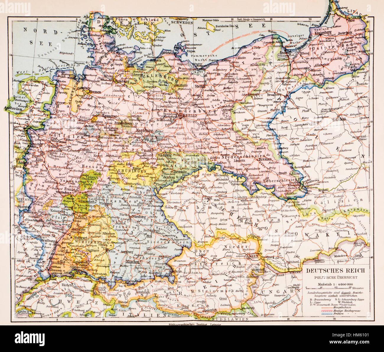 Mappa della Germania tra la prima guerra mondiale e la Seconda Guerra Mondiale. Da Meyers lessico, pubblicato nel Immagini Stock