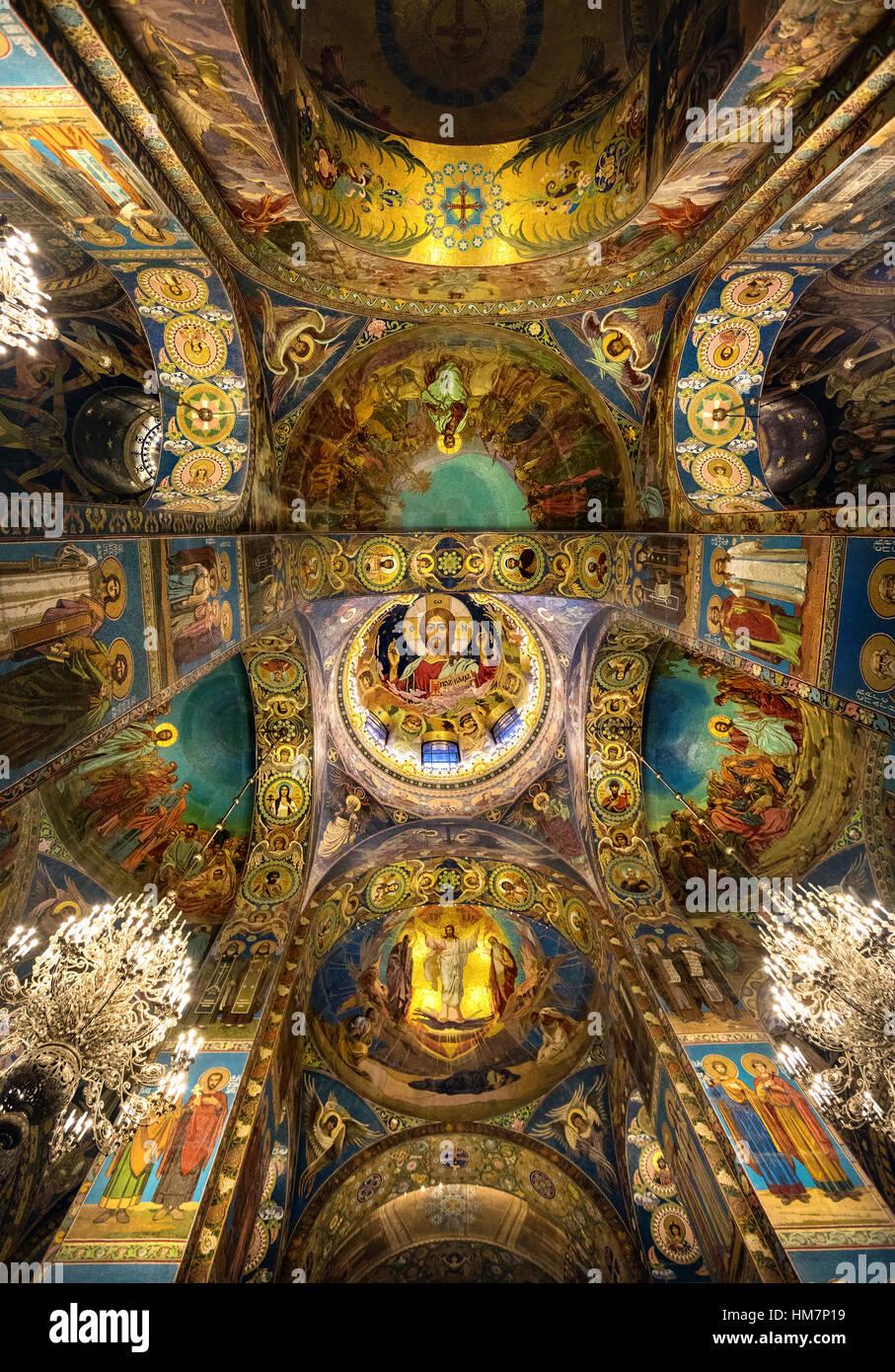 Interno della chiesa del Salvatore sul Sangue versato a San Pietroburgo, Russia Immagini Stock