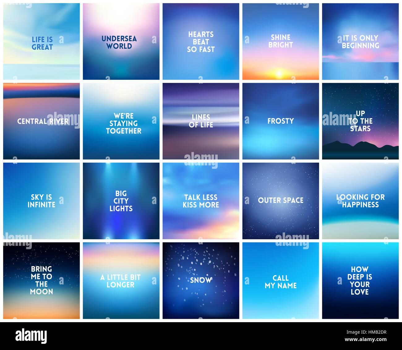 Grande Set Di 20 Quadrato Natura Sfocata Blu Scuro Sfondi
