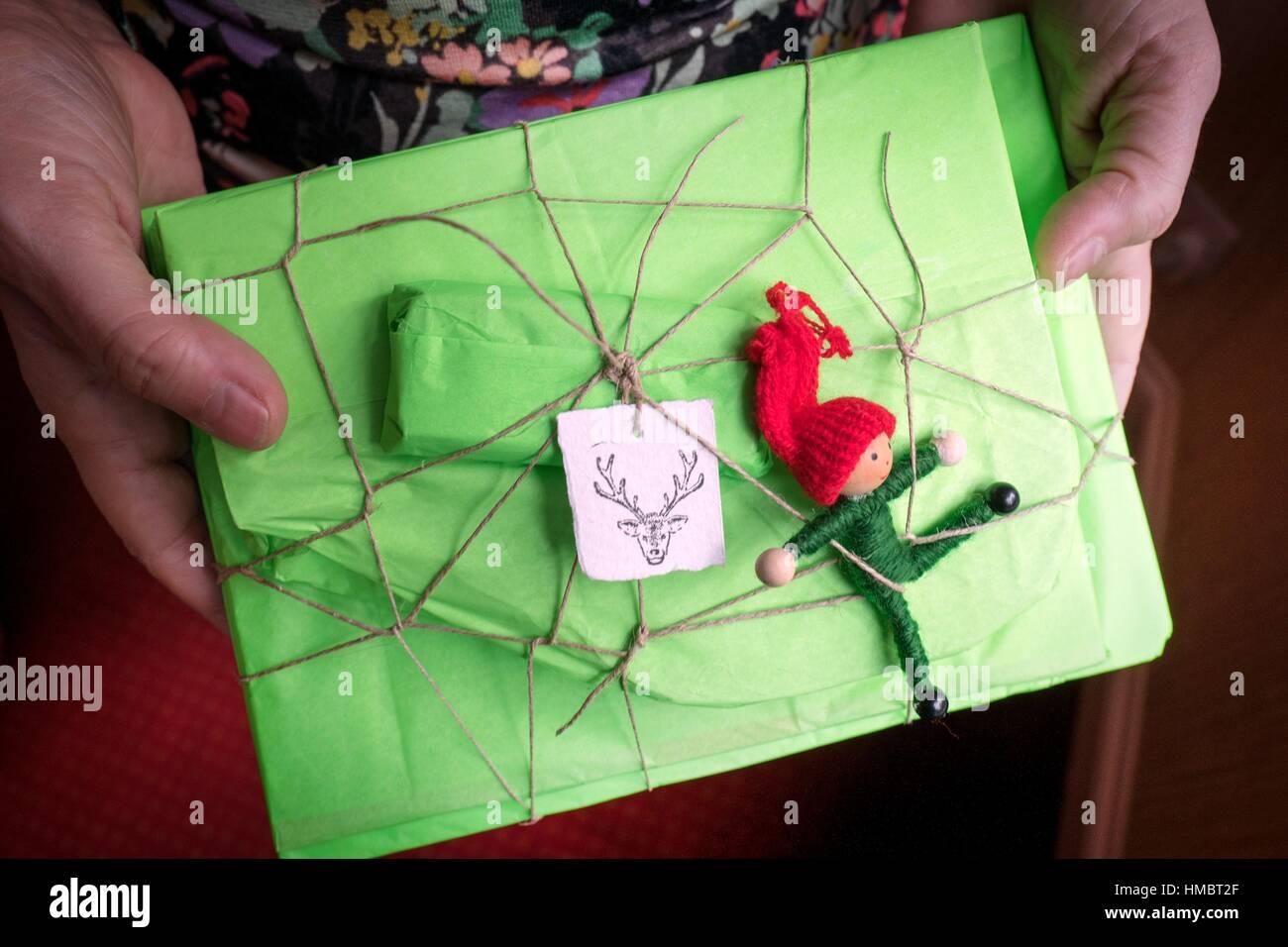 Donna mani un regalo di Natale in un pacchetto di verde, con un etichetta di cervi e elf figura Immagini Stock