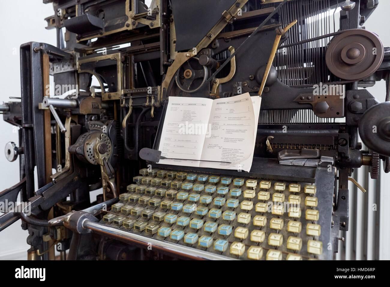 Vecchia macchina tipografica, tipografia Immagini Stock