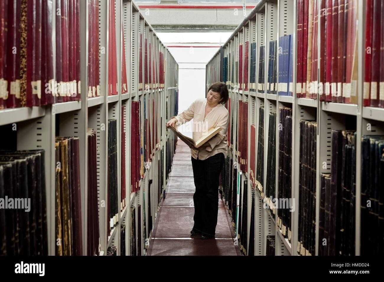 Archivio di rari e manoscritti storici. Conde Duque Centro Arte. Madrid. Spagna. Immagini Stock