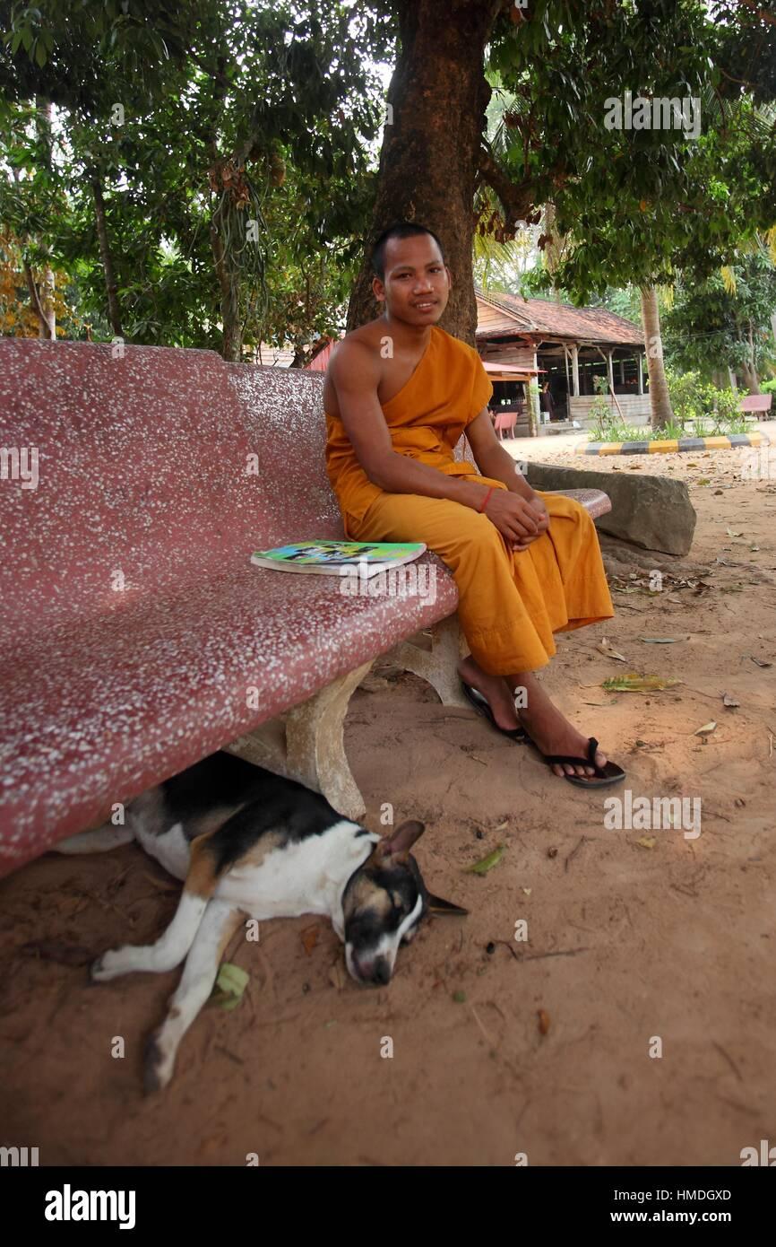 Monaco e il suo pet nel monastero Buddista, Cambogia Immagini Stock