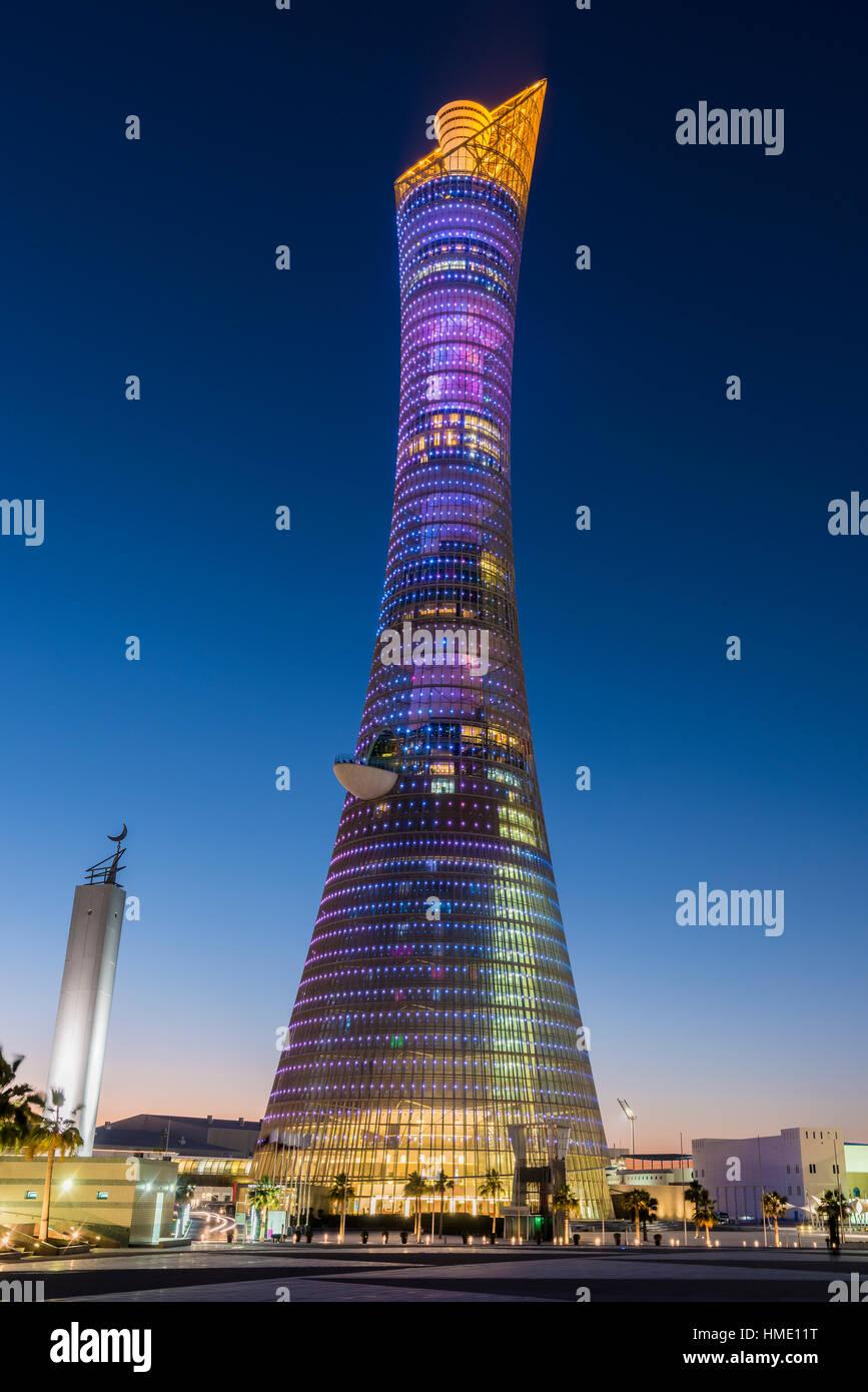 Aspire Tower, noto anche come torcia Doha, Doha, Qatar Immagini Stock