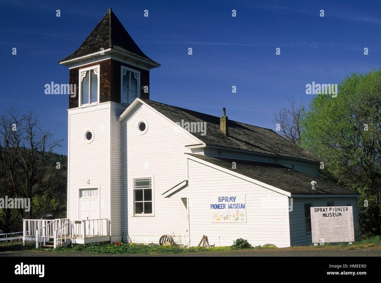 Spruzzare il Museo dei Pionieri, il viaggio attraverso il tempo National Scenic Byway, Wheeler County, Oregon. Immagini Stock