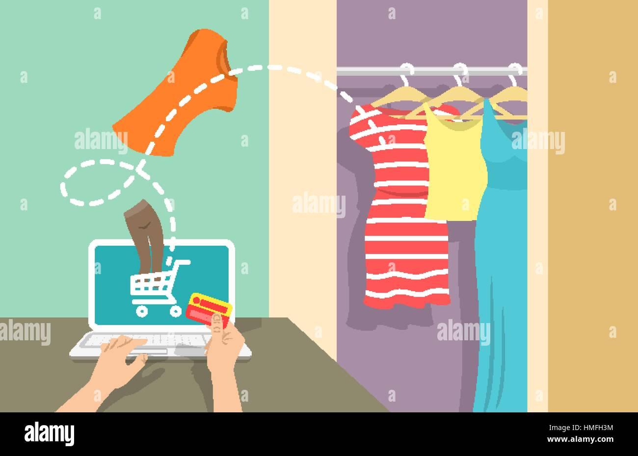 85aa9472dd3b Shopping online vettore piana banner. Web marketing store concept. L E- commerce sfondo. Donna compra i vestiti sul sito usando il computer.