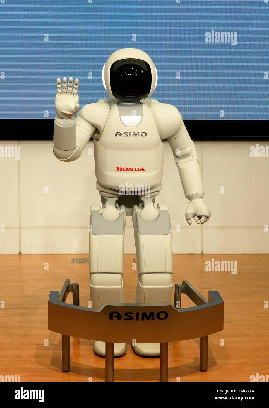 Honda Asimo robot mostrano in Honda Benvenuti Plaza Aoyama in Tokio, Marzo 2014 , Giappone Immagini Stock