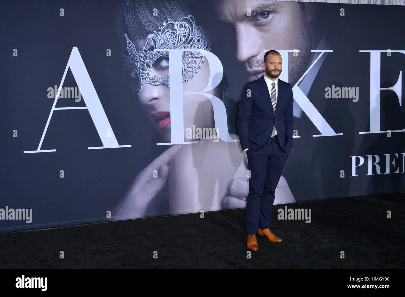 """Los Angeles, California, USA. 2° febbraio 2017. Attore Jamie Dornan alla premiere di 'Cinquanta tonalità più scura"""" Foto Stock"""